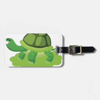 Etiqueta De Bagagem tartaruga que anda na grama
