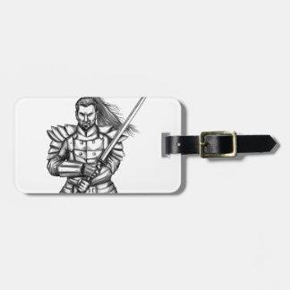 Etiqueta De Bagagem Tatuagem da posição da luta do guerreiro do