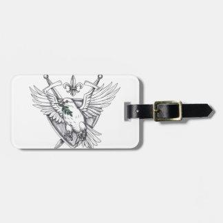 Etiqueta De Bagagem Tatuagem verde-oliva da crista da espada da folha