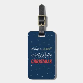 Etiqueta De Bagagem Tenha um Natal alegre do azevinho
