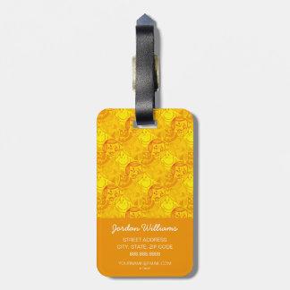 Etiqueta De Bagagem Teste padrão amarelo ensolarado pequeno da