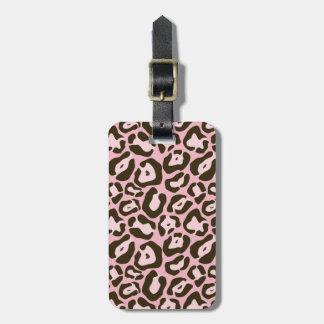 Etiqueta De Bagagem Teste padrão animal cor-de-rosa do impressão