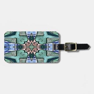Etiqueta De Bagagem Teste padrão artístico do pêssego moderno do Lilac