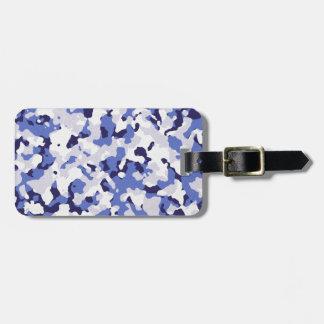Etiqueta De Bagagem Teste padrão azul da camuflagem
