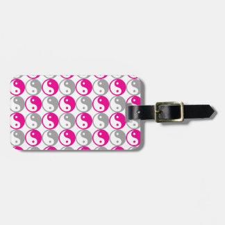 Etiqueta De Bagagem Teste padrão cinzento e cor-de-rosa de yang do yin