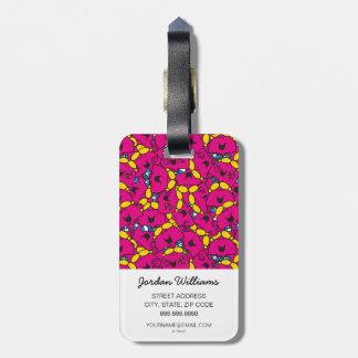 Etiqueta De Bagagem Teste padrão cor-de-rosa brilhante pequeno da