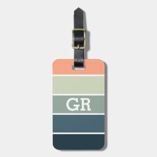 Etiqueta De Bagagem Teste padrão das listras das cores Pastel