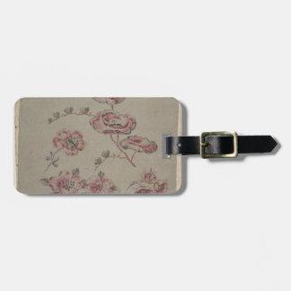 Etiqueta De Bagagem Teste padrão de flor cor-de-rosa - francês