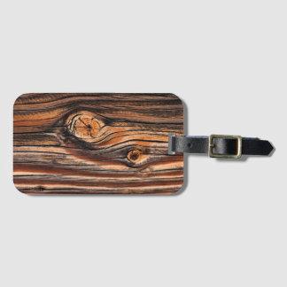 Etiqueta De Bagagem Teste padrão de madeira da grão