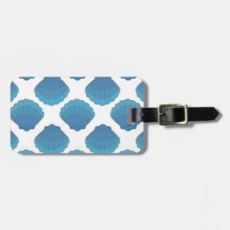 Etiqueta De Bagagem Teste padrão de mosaico azul do Seashell