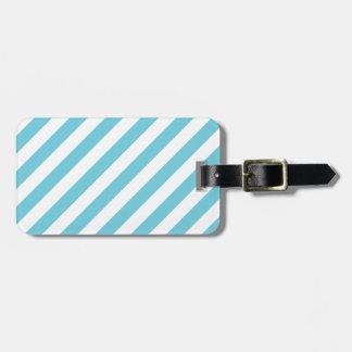 Etiqueta De Bagagem Teste padrão diagonal azul e branco das listras