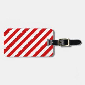 Etiqueta De Bagagem Teste padrão diagonal vermelho e branco das