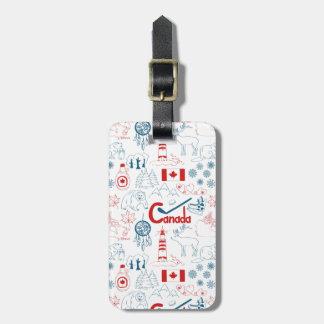 Etiqueta De Bagagem Teste padrão dos símbolos de Canadá |