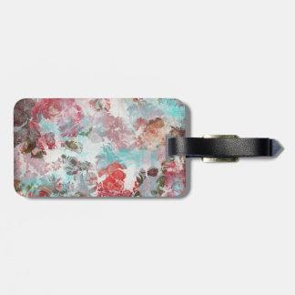 Etiqueta De Bagagem Teste padrão floral cor-de-rosa chique romântico
