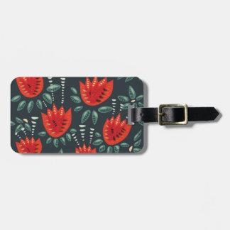 Etiqueta De Bagagem Teste padrão floral escuro da tulipa vermelha