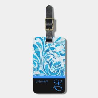 Etiqueta De Bagagem Teste padrão floral preto & azul customizável