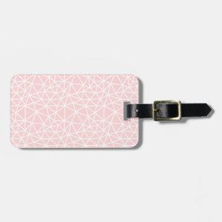 Etiqueta De Bagagem Teste padrão geométrico branco cor-de-rosa