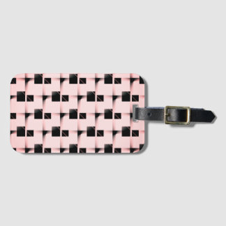 Etiqueta De Bagagem Teste padrão preto e cor-de-rosa