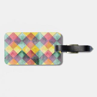 Etiqueta De Bagagem Teste padrão quadrado colorido