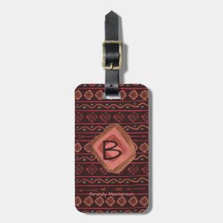 Etiqueta De Bagagem Teste padrão tribal de Boho, personalizado &