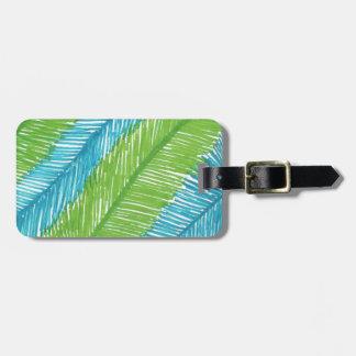 Etiqueta De Bagagem Teste padrão verde e azul das folhas de palmeira