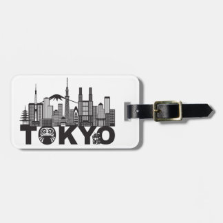 Etiqueta De Bagagem Texto da skyline da cidade de Tokyo preto e branco