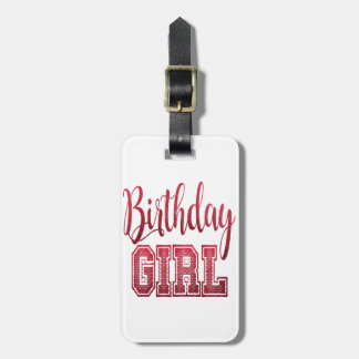 Etiqueta De Bagagem Texto vermelho da menina do aniversário