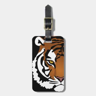 Etiqueta De Bagagem Tigre, gato selvagem no preto
