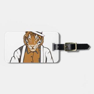 Etiqueta De Bagagem tigre humano com cartões de jogo