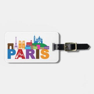 Etiqueta De Bagagem Tipografia colorida de Paris, France  