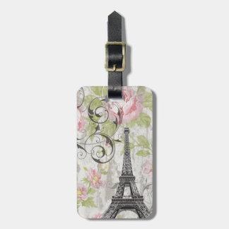 Etiqueta De Bagagem torre Eiffel francesa floral do país do chique