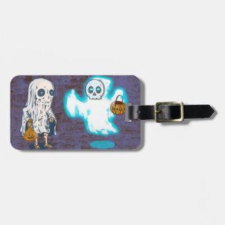 Etiqueta De Bagagem Traje do fantasma e do esqueleto