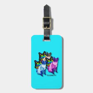 Etiqueta De Bagagem Três gatos psicadélicos com asas da borboleta