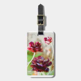 Etiqueta De Bagagem Trio de florescência da tulipa da peônia escura do