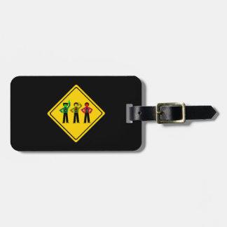 Etiqueta De Bagagem Trio temperamental do sinal de trânsito adiante