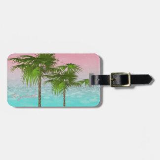 Etiqueta De Bagagem Tropical feminino moderno, palmeira