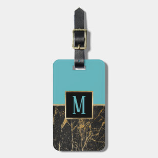 Etiqueta De Bagagem Turquesa moderna do monograma & mármore preto na