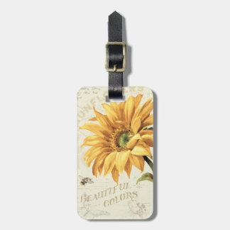 Etiqueta De Bagagem Um girassol na flor completa
