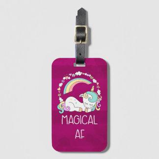 Etiqueta De Bagagem Unicórnio engraçado que diz o AF mágico