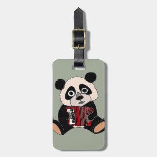 Etiqueta De Bagagem Urso de panda engraçado que joga o acordeão