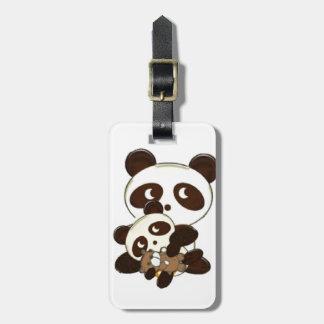 Etiqueta De Bagagem Urso e bebê de panda