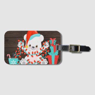 Etiqueta De Bagagem Urso polar pequeno bonito com luzes de Natal