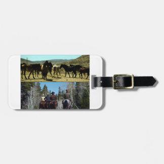 Etiqueta De Bagagem Vaqueiros americanos na viagem aos cavalos do