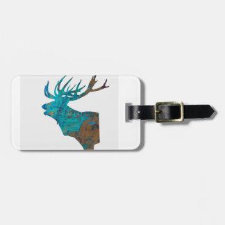 Etiqueta De Bagagem veado principal dos cervos nos turquois