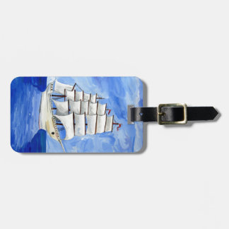 Etiqueta De Bagagem veleiro branco no mar azul