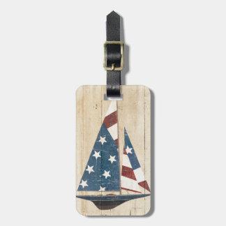Etiqueta De Bagagem Veleiro com bandeira americana