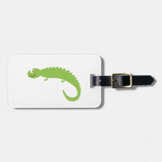 Etiqueta De Bagagem Verde do lagarto do design no branco