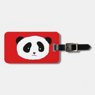 Etiqueta De Bagagem Vermelho bonito do teste padrão da cara da panda