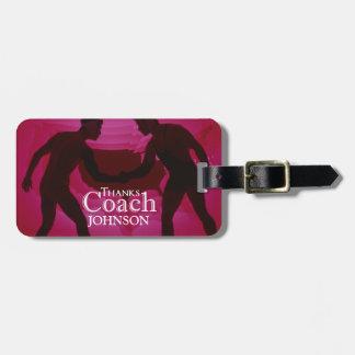 Etiqueta De Bagagem Vermelho da silhueta do treinador dos obrigados da