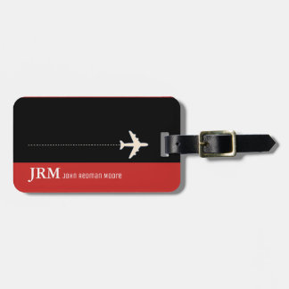Etiqueta De Bagagem vermelho do monograma/viagem personalizados do